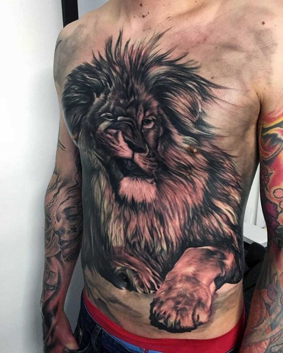 3d Cool Lion Chest Tattoo Design ...