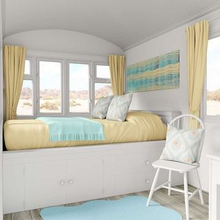 Blue Yellow White Bed Room Design / Decoration (#47389)