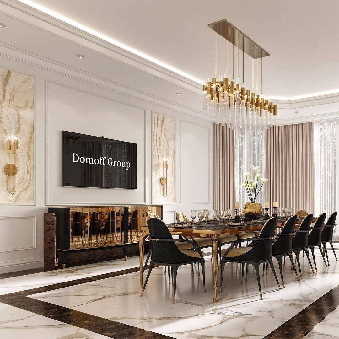 Modern Luxury Gold Dining Room Design / Decoration (#98028)