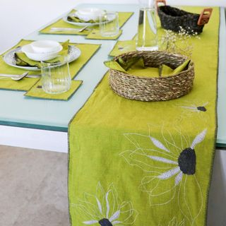 Small Indian Green Dining Room Design / Decoration (#93938)