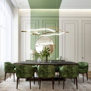 Modern Luxury Green Dining Room Design / Decoration (#21295)