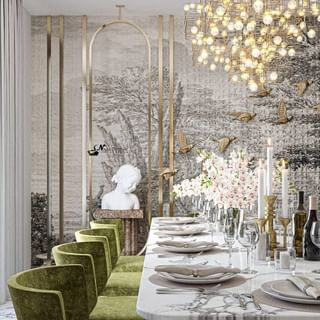 Modern Luxury Green Dining Room Design / Decoration (#119779)