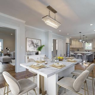 Modern White Dining Room Design / Decoration (#109180)