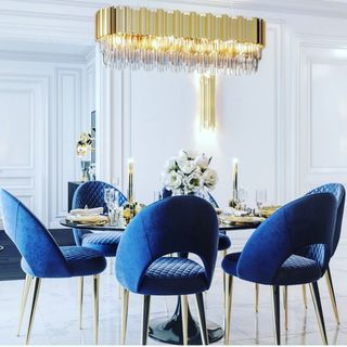 Blue Gold Dining Room Design / Decoration (#123309)