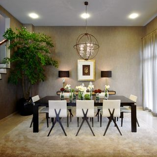 Luxury Green  Red  Dining Room Design / Decoration (#62657)