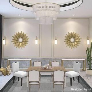 Luxury White Gold Dining Room Design / Decoration (#52101)