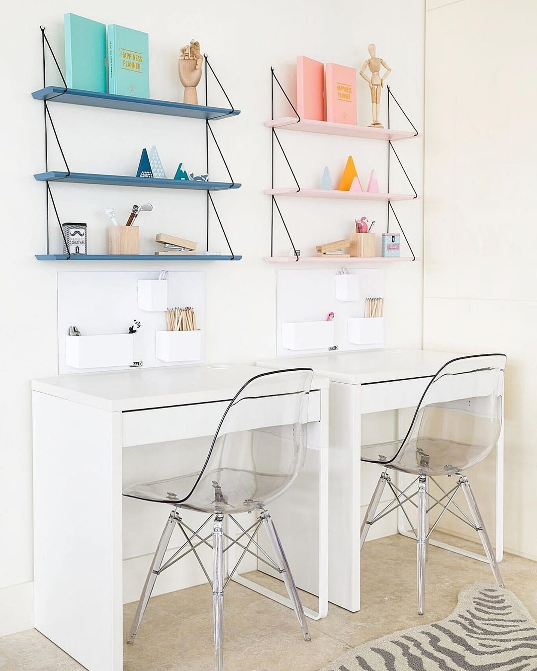 Blue White Pink Home Office Design / Decoration (#125707)