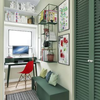 Small Green Home Office Design / Decoration (#35393)