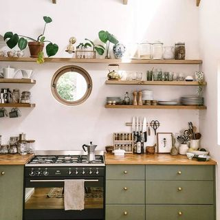 Small Modern Green White Olive Green Kitchen Design / Decoration (#98916)