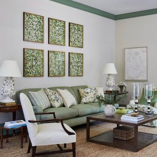 Green White Living Room Design / Decoration (#112985)