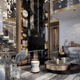 Modern Luxury Gold Living Room Design / Decoration (#113216)