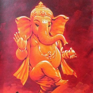 Dancing Ganesha with Mouse Painting - #15471