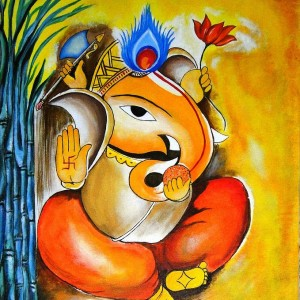 Ganesha Beautiful Drawing Wallpaper - #15464