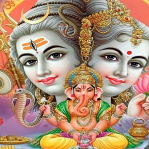Lord Ganesha with Shiv Parvati - #15506