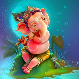 Lord Little Ganesha playing flute beautiful and colorful drawing - #15539
