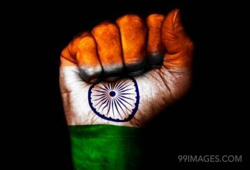 Happy Independence Day, Hand with Indian Flag painting