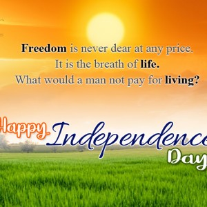 Happy Independence Day with rising sun, Green Farm Background - #9194