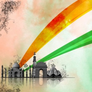Artistic Happy Independence Day in tricolor flag with Red fort - #9193
