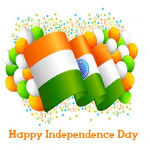 Happy Independence Day, Tricolor flag with colorful balloons