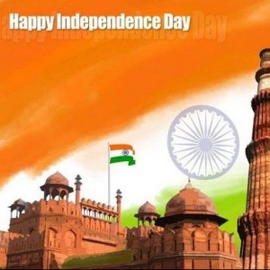 Happy Independence Day wishes with Red Fort Background