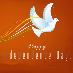 Happy Independence Day Message, White Pigeon is flying free from cage