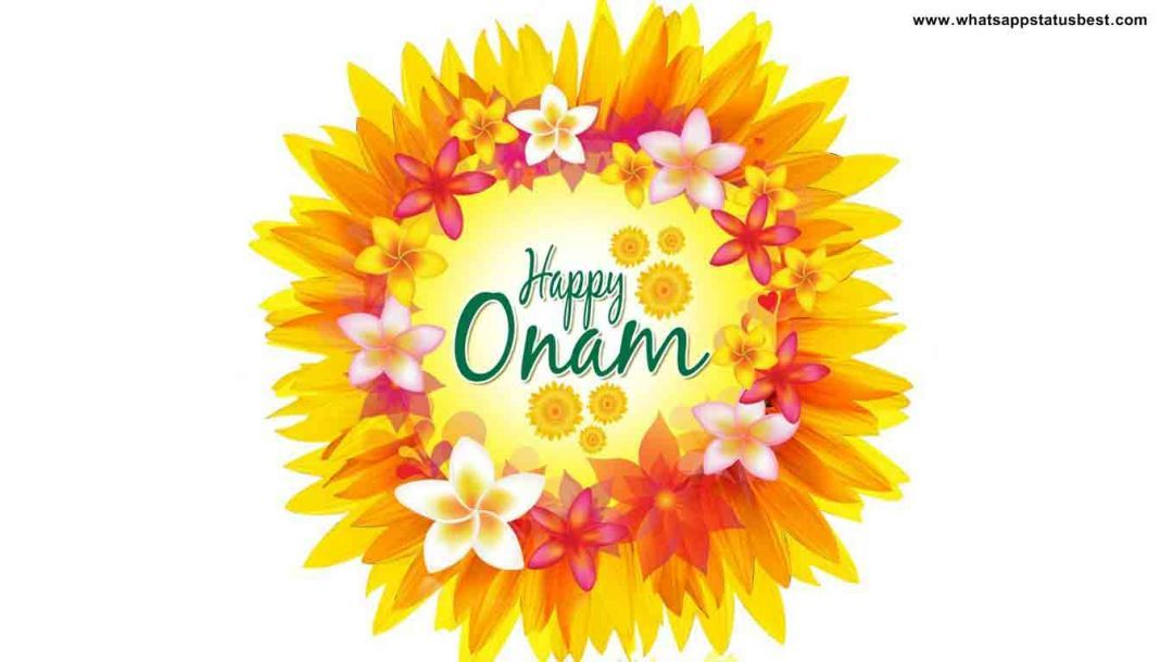 Happy Onam written in Onam Pookolam (13256) - Onam