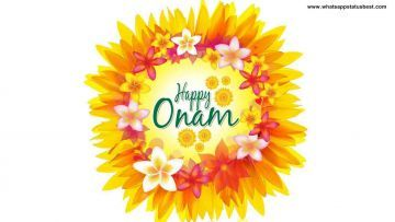Happy Onam written in Onam Pookolam