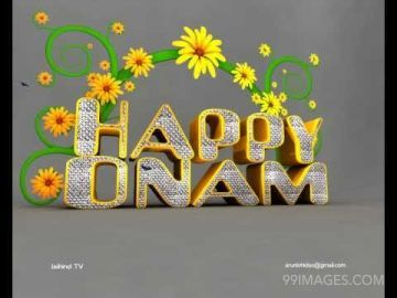 Happy Onam written in Flowers