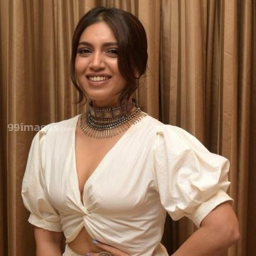 Actress Bhumi Pednekar Photoshoot in White Gown Dress