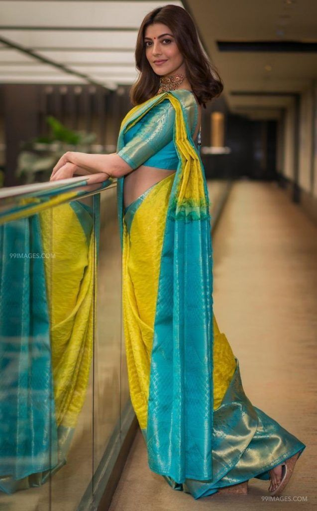 Kajal Agarwals yellow designer  saree  HD photos (42900) - Kajal Agarwal