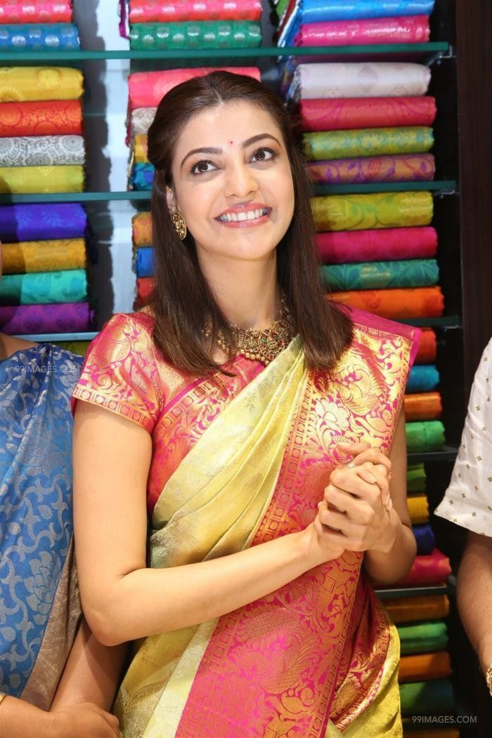 Kajal Agarwals latest beautiful green silk saree HD stills (42914) - Kajal Agarwal