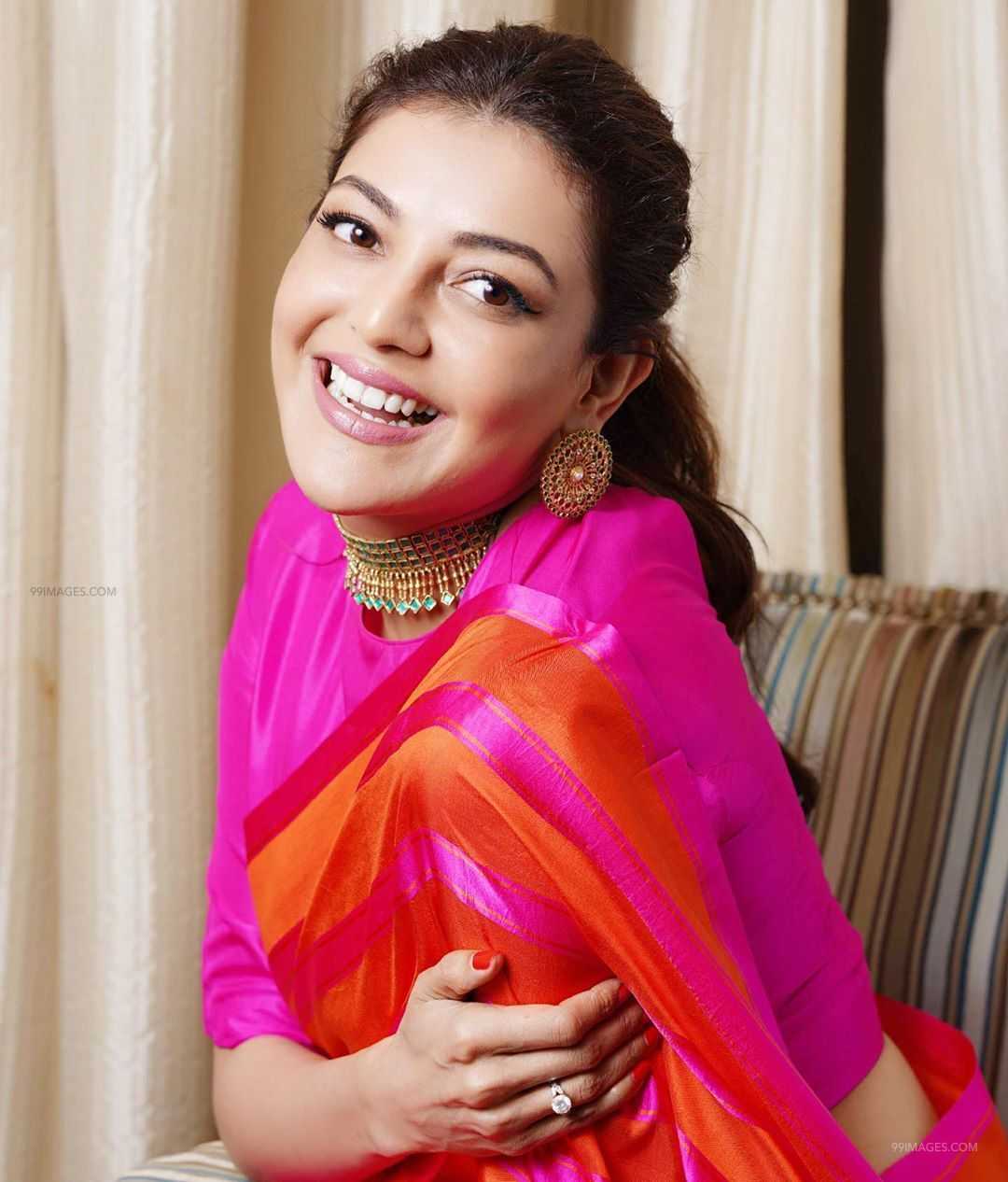 Kajal Agarwal Latest Hot HD Photoshoot Photos / Wallpapers in Saree, WhatsApp DP (1080p) (74885) - Kajal Agarwal
