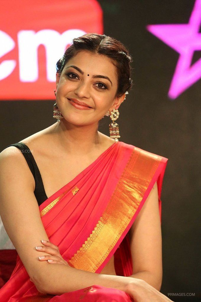 Kajal Agarwals sleeveless red saree hot HD stills (42863) - Kajal Agarwal