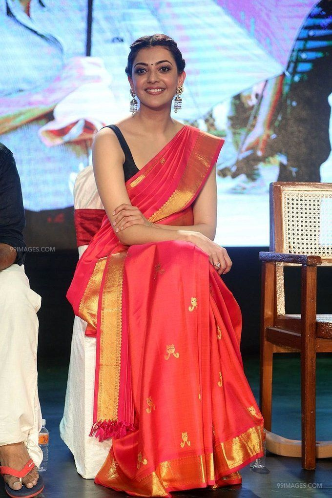 Kajal Agarwals sleeveless red saree hot HD stills (42861) - Kajal Agarwal