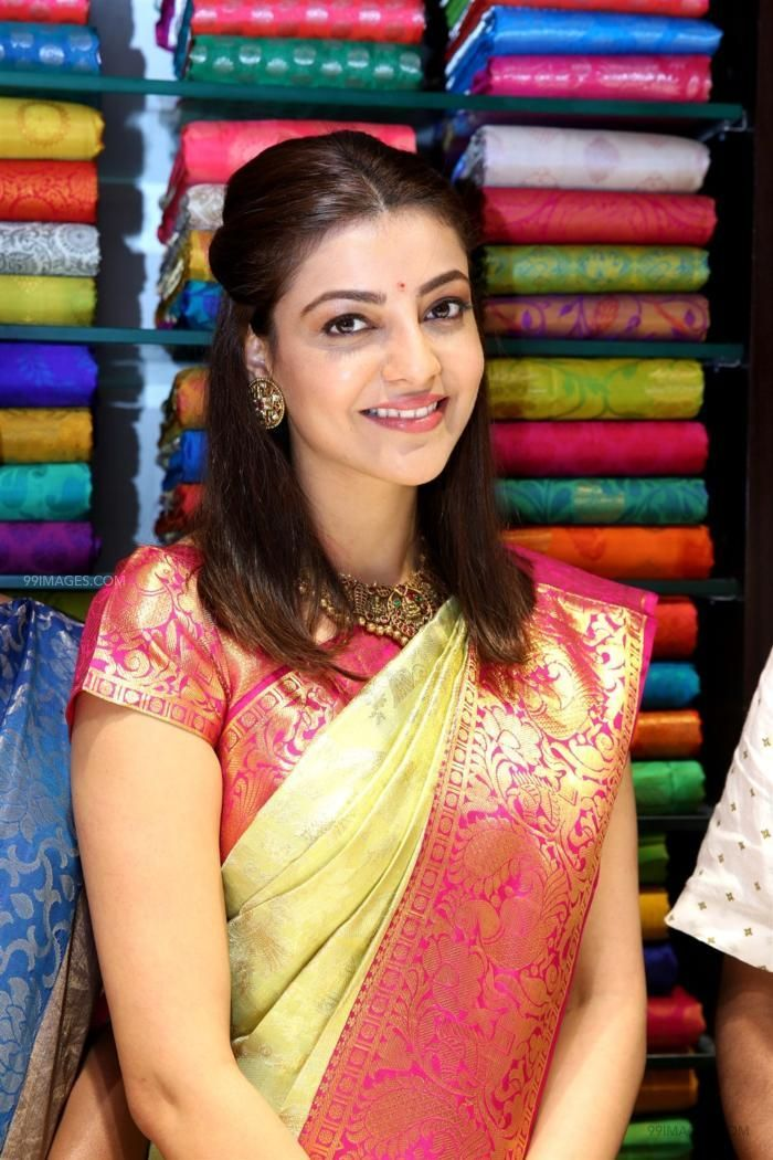Kajal Agarwals latest beautiful green silk saree HD stills (42911) - Kajal Agarwal