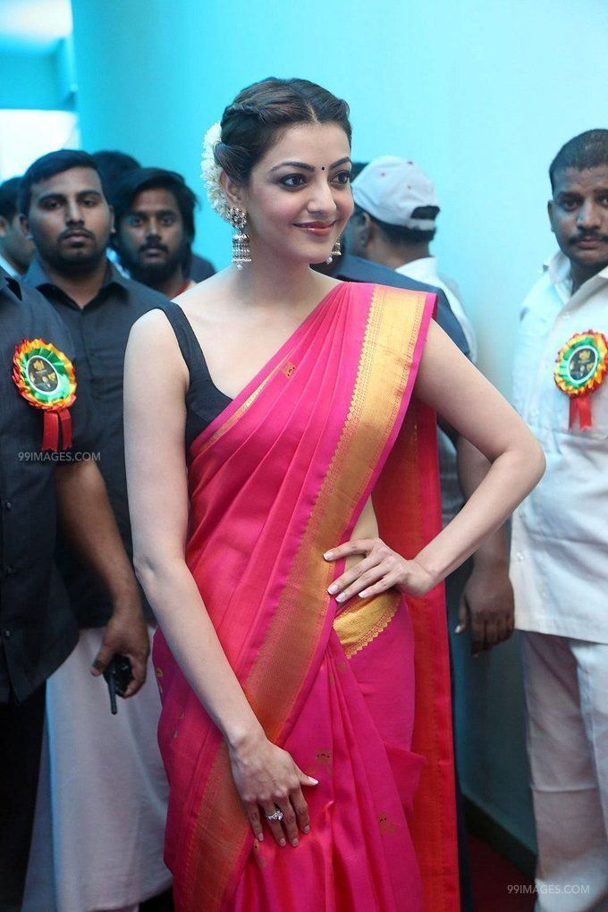 Kajal Agarwals sleeveless red saree hot HD stills (42854) - Kajal Agarwal