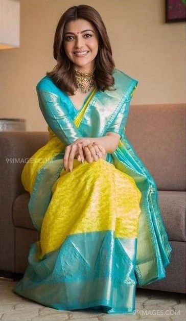 Kajal Agarwals yellow designer saree HD photos (42902) - Kajal Agarwal