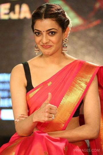 Kajal Agarwals red saree hot HD stills