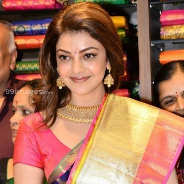 Kajal Agarwalss blue designer saree photos in HD Quality