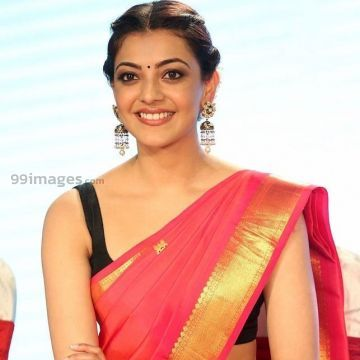 Kajal Agarwals sleeveless red saree hot HD stills