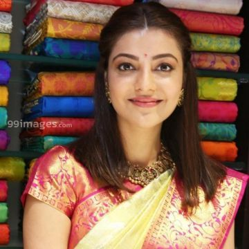 Kajal Agarwals latest beautiful green silk saree HD stills
