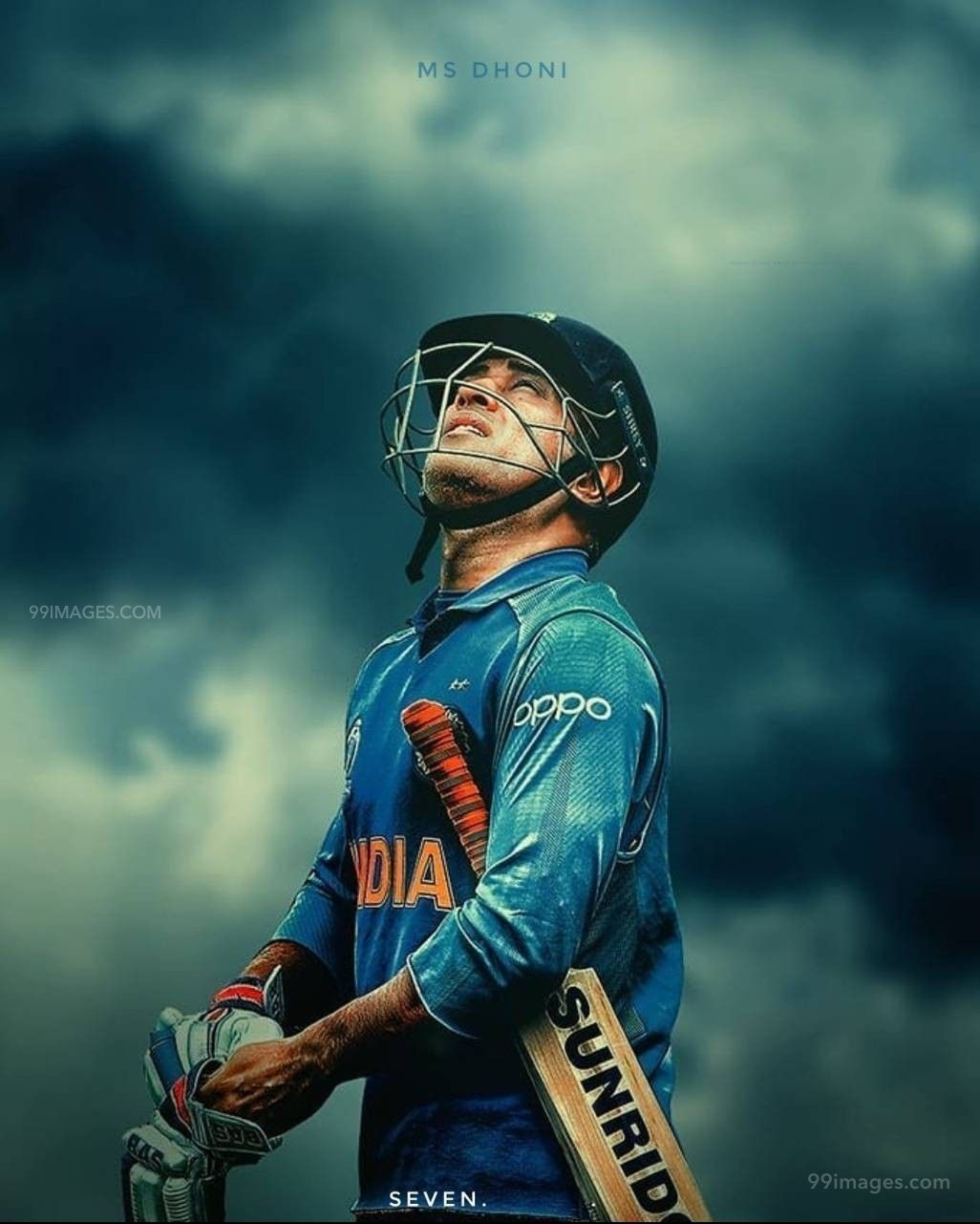 MS Dhoni 7 Looking at Sky Drawing Image / Wallpaper HD (41821) - MS Dhoni