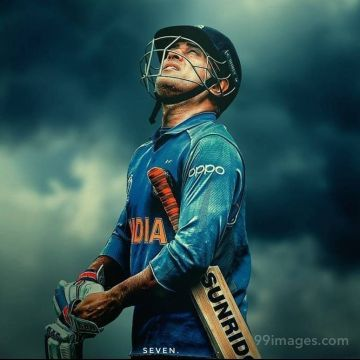 MS Dhoni 7 Looking at Sky Drawing Image / Wallpaper HD