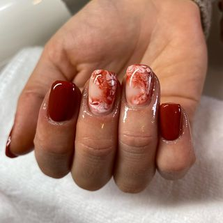 Small Gel Marble Glitter Nail Designs  (#137369)