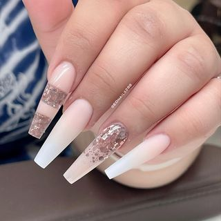 Pink Spring Long Heart Acrylic Glitter Ombre Nail Designs  (#133719)