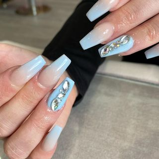 Small Blue Cute Long Acrylic Glitter Ombre Nail Designs  (#132727)