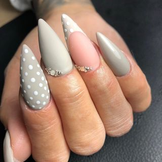 Flower Grey Acrylic Glitter Ombre Nail Designs  (#130906)