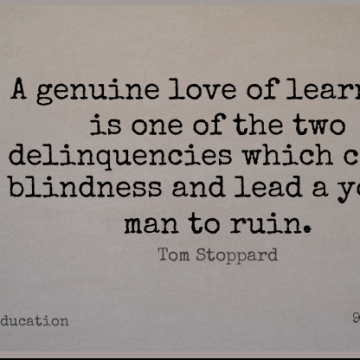 Short Education Quote by Tom Stoppard about Men,Genuine Love,Two for WhatsApp DP / Status, Instagram Story, Facebook Post.