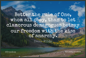 Short Freedom Quote by Oscar Wilde about Kissing,Anarchy,Dictatorship for WhatsApp DP / Status, Instagram Story, Facebook Post.