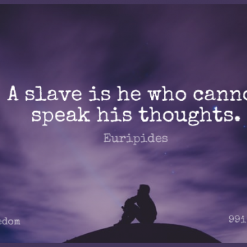 Short Freedom Quote by Euripides about Liberty,Speak,Slave for WhatsApp DP / Status, Instagram Story, Facebook Post.